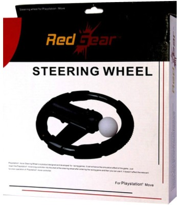 Red Gear Steering Wheel for PS3 Move(Black, For PS3)