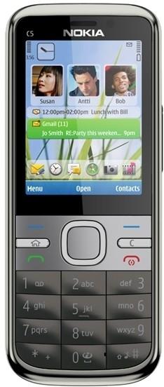 View Nokia C5 (W. Grey, 50 MB)(128 MB RAM) Mobile Price Online(Nokia)