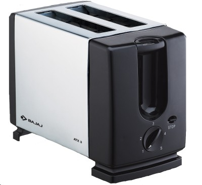 Bajaj ATX 3 Auto Pop 2 Slices SS Pop Up Toaster