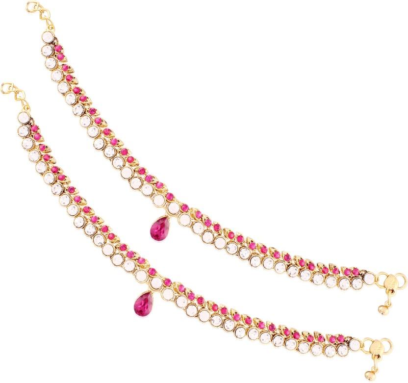 I Jewels Ethnic Gold Plated Designer Alloy Anklet