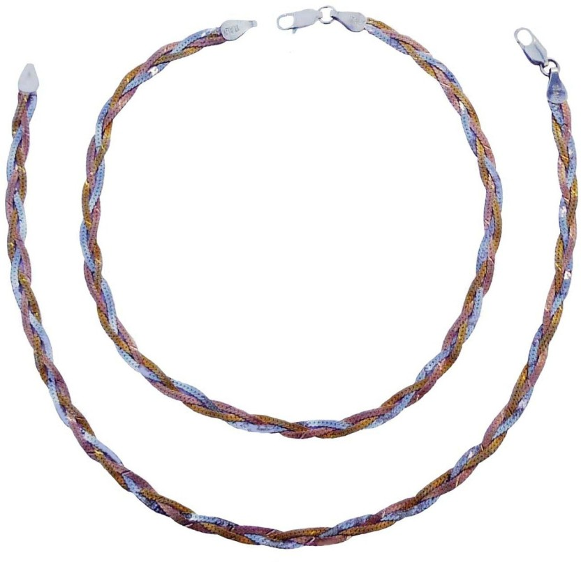 """Ankit Collection \"""" TRI - TONE \"""" Sterling Silver Anklet"""