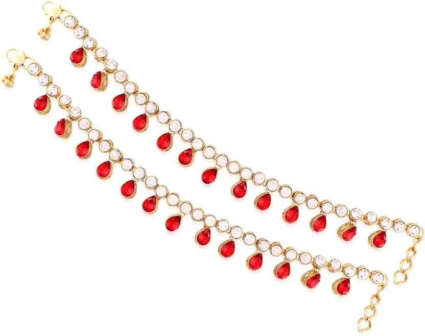 I Jewels Traditional Gold Plated Designer Alloy Anklet