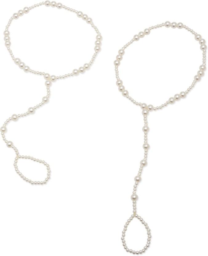 FemNmas Pearl Ring Chain Alloy Toe Anklet