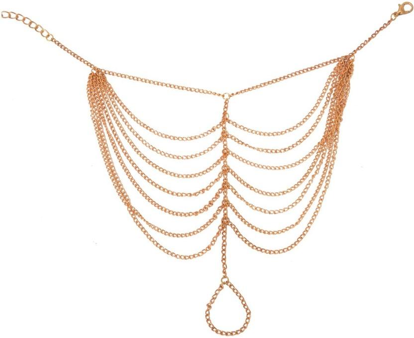 Aaishwarya Golden Chain Link Tassel Alloy Anklet