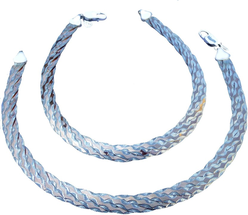 """Ankit Collection \"""" Two-Tone\"""" Sterling Silver Anklet"""
