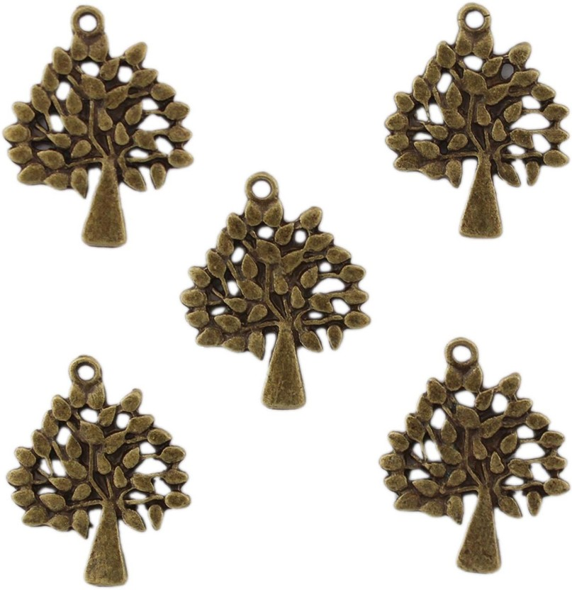 Tootpado Tree Flat Back Metal Craft & Scrapbooking Embellishments (1l1056) - Antique Metal Charms and Pendants