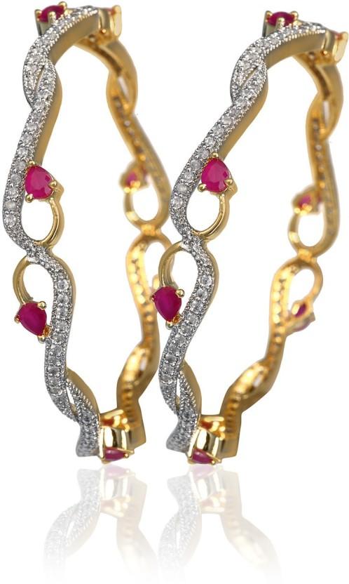 Fashion Fusion Brass, Copper Cubic Zirconia Yellow Gold, Rhodium Bangle Set