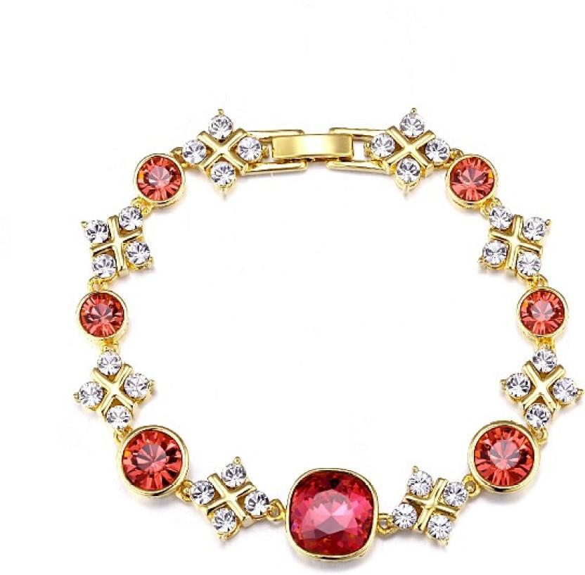 Yellow Chimes Alloy Swarovski Crystal Bracelet