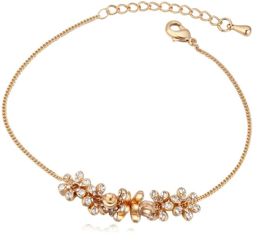 WearYourFashion Alloy Swarovski Crystal 18K Yellow Gold Bracelet