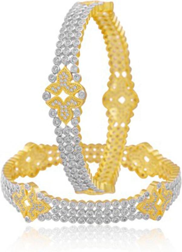 Alysa Copper, Brass Cubic Zirconia Yellow Gold, Rhodium Bangle Set