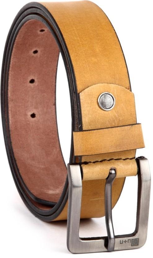 U+N Men Casual Tan Genuine Leather Belt