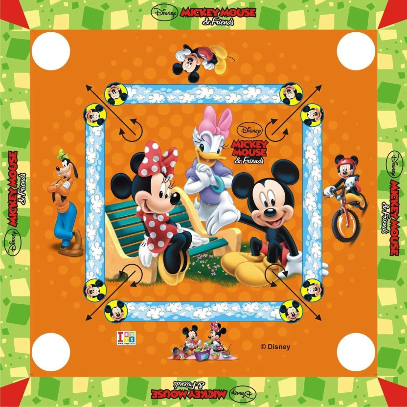 """Disney Mickey Mouse Carom Board- 20 X 20\"""" Inches Big Size Board Game Board Game"""