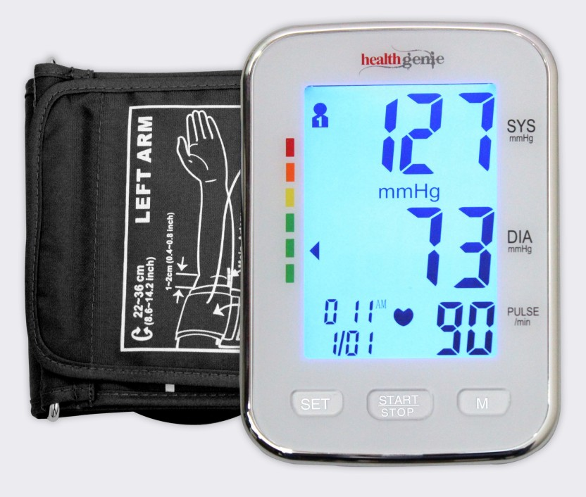Healthgenie BPM 04 KBL Digital Upper Arm Blood Pressure Monitor Fully Automatic | Irregular Heartbeat Detector | Batteries Included | 2 Year Warranty Bp Monitor