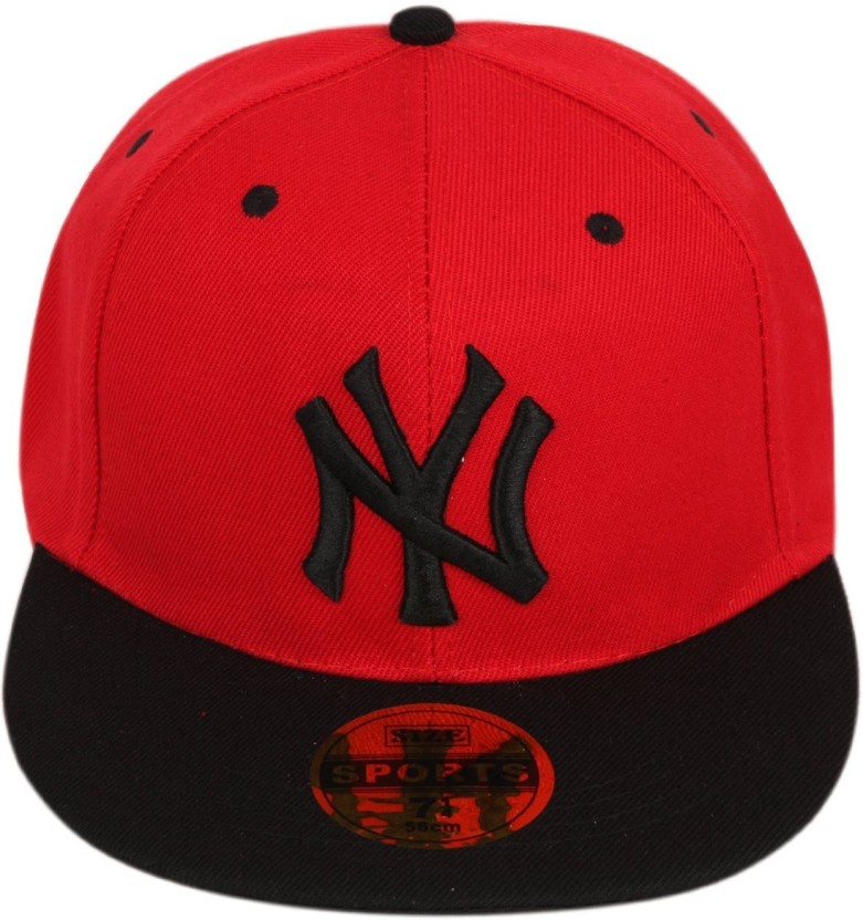 ILU Solid NY caps red black cotton, Baseball, caps, Hip Hop Caps, men, women, girls, boys, Snapback, hiphop, Mesh, Trucker, Hats cotton caps Cap Cap
