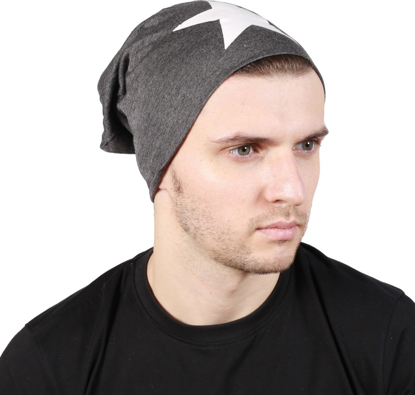 Noise Focus on Airking Grey Beanie With Ring Printed Skull Cap