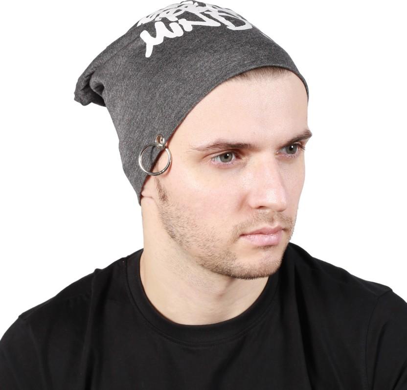 Noise Genuine Urban Minds Beanie-Dark Grey With Ring Printed Skull Cap