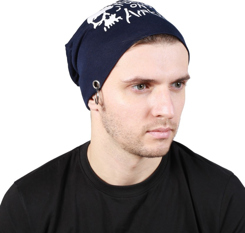 Noise Focus on Airking Blue Beanie With Ring Printed Skull Cap