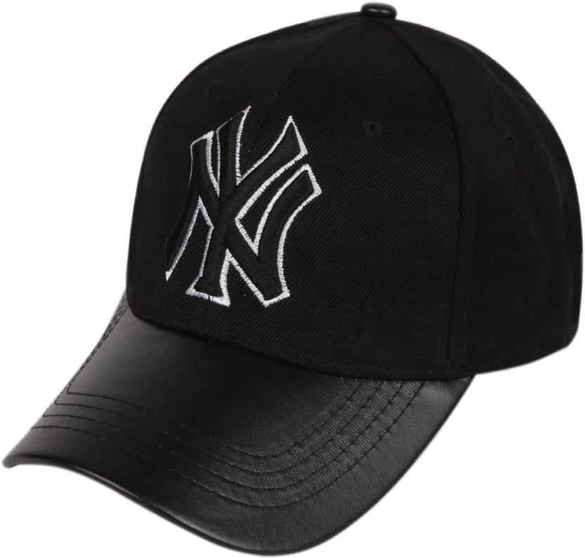 ILU Solid NY caps black cotton leather, Baseball, caps, Hip Hop Caps, men, women, girls, boys, Snapback, hiphop, Mesh, Trucker, Hats cotton caps Cap Cap