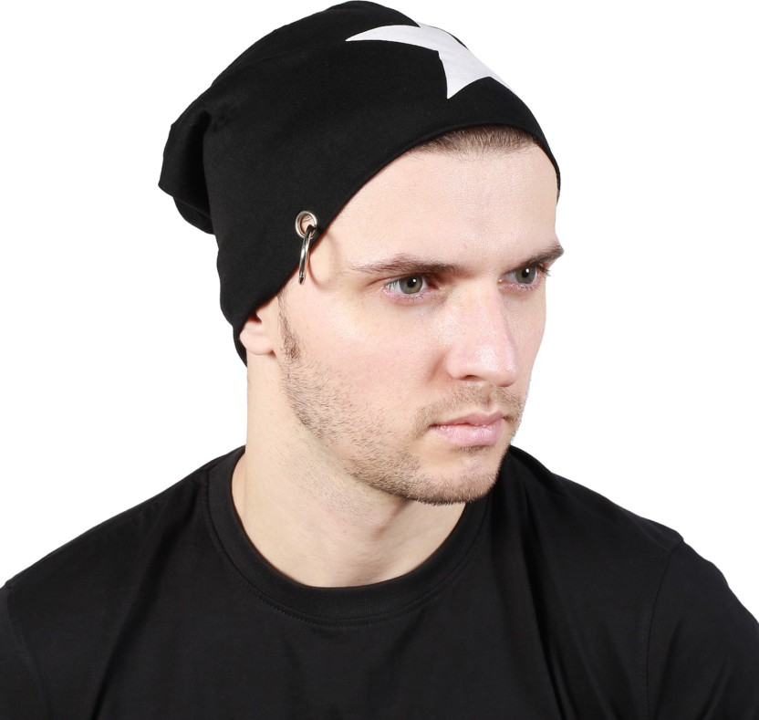 Noise Black Salute Beanie With Ring Printed Skull Cap