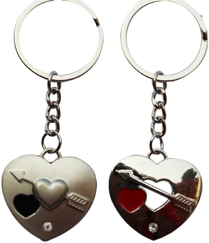 GCT Pair of Love Hearts Metallic Key Chain
