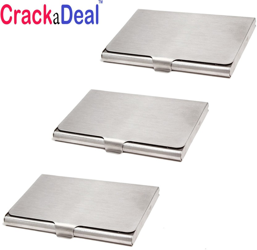 CrackaDeal | Pack of 3 | High Quality Stainless Steel Visiting 10 Card Holder