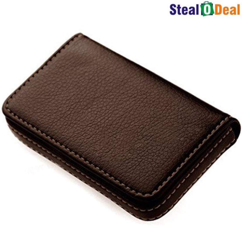 Stealodeal Full Brown Leather 15 Card Holder