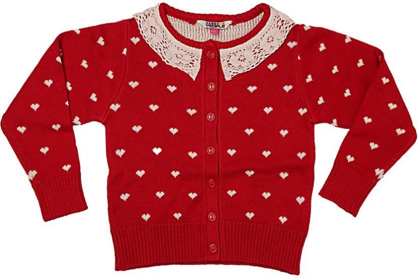 People Baby Girls Button Printed Cardigan