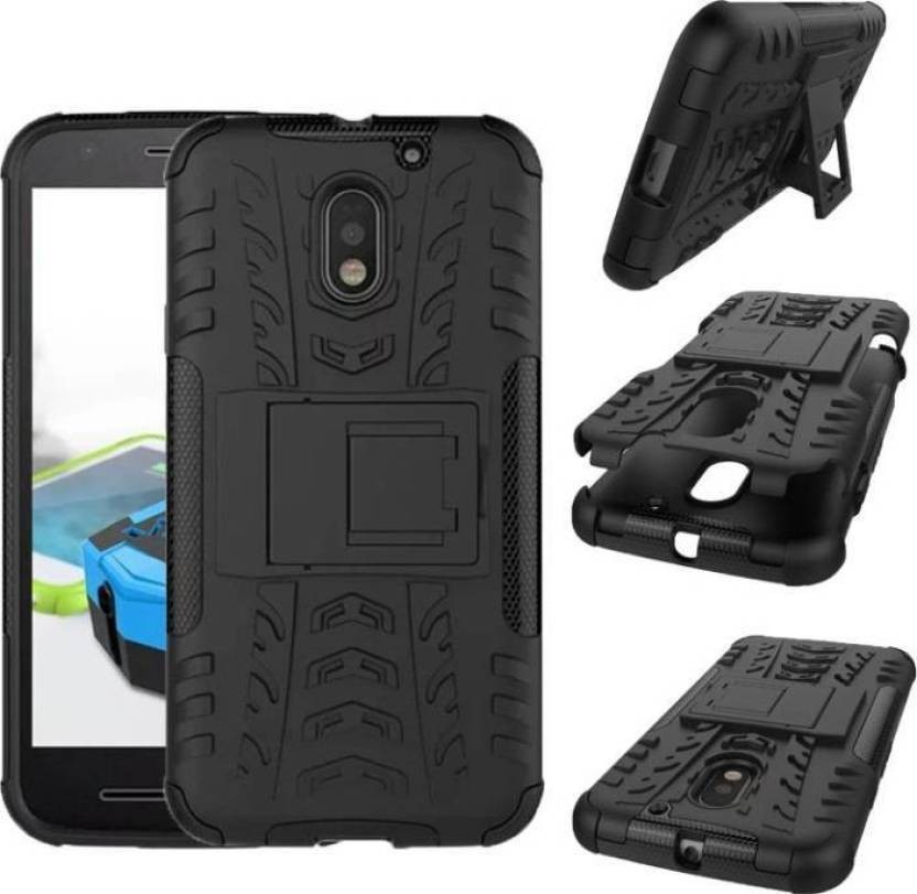 Ideal Back Cover for Motorola Moto E3 Power (Black Kickstand)