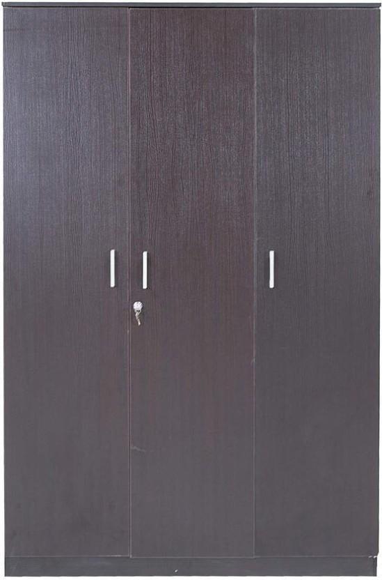 HomeTown Prime 3 Door Wenge Engineered Wood Almirah