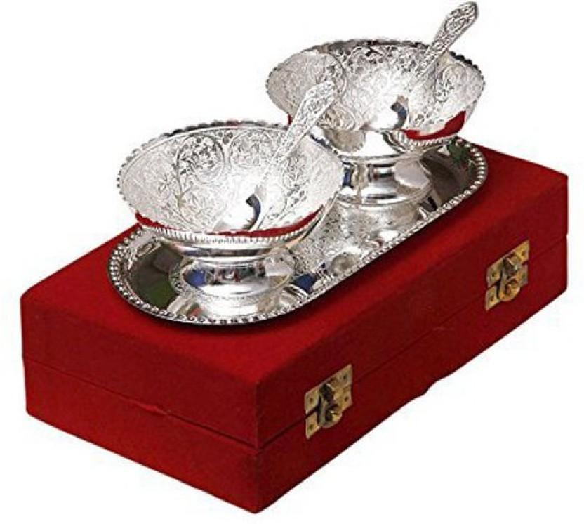 Varanasi Enterprises ilver Plated Brass Bowl With Tray - Set Of 5 Iron Decorative Platter