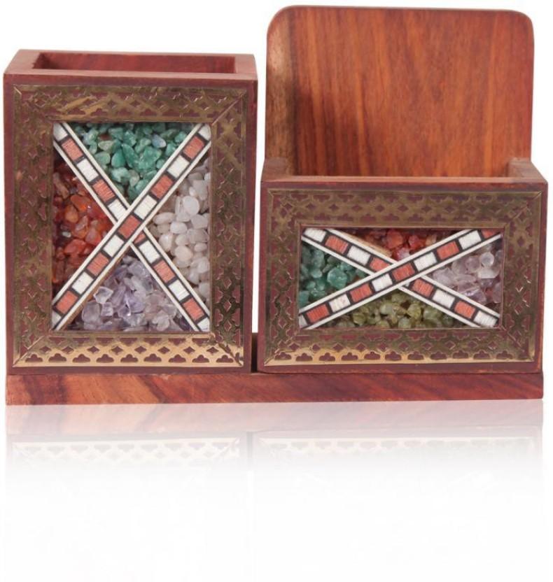 Rajwada Arts Rajasthani 2 Compartments Wooden Pen and Visiting Card Holder