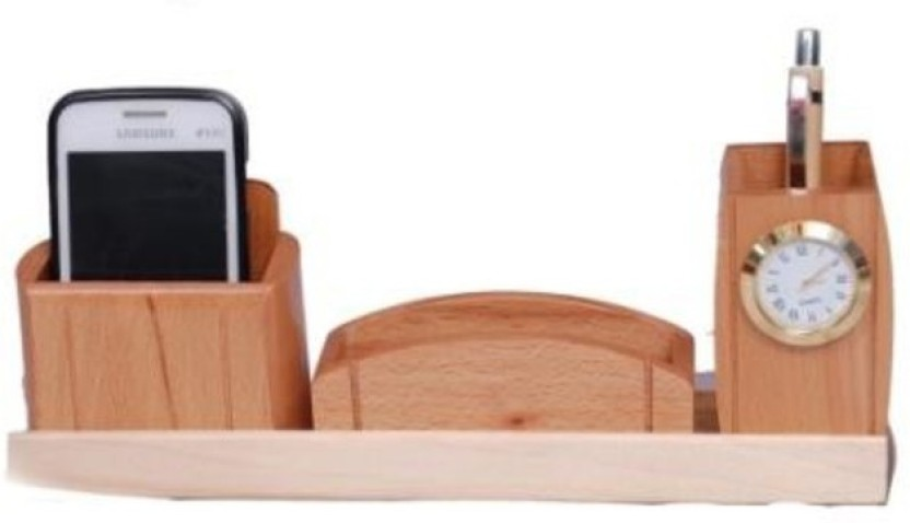 Onlineshoppee CAC 3 Compartments Wooden Mobile holder