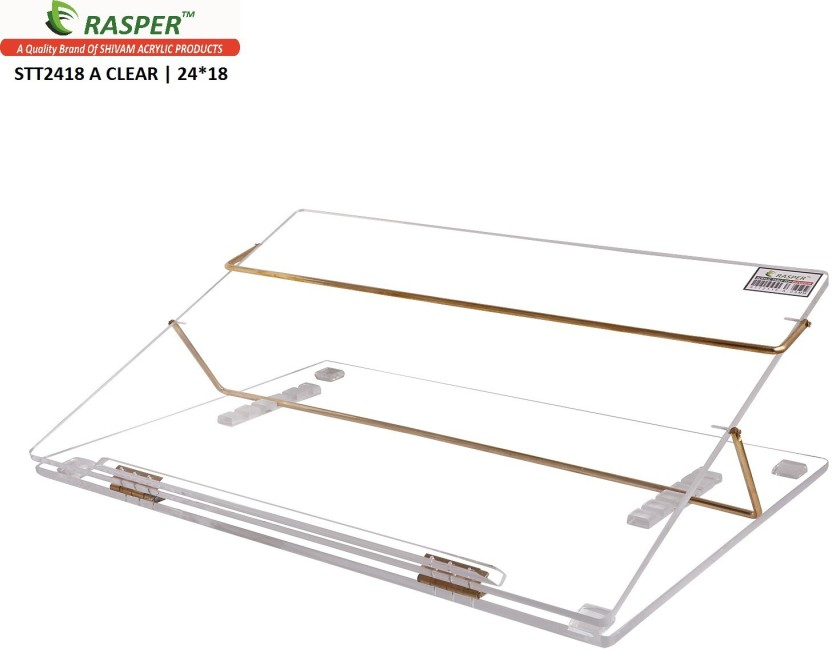 Rasper 2 Compartments Clear Acrylic Writing Desk, (BIG SIZE 24x18 Inches) With 1 Year Warranty Table Top Elevator Premium Quality