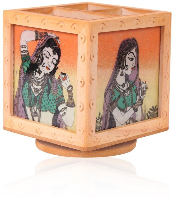 Rajwada Arts Rajasthani 3 Compartments Wooden Office Stationary Holder