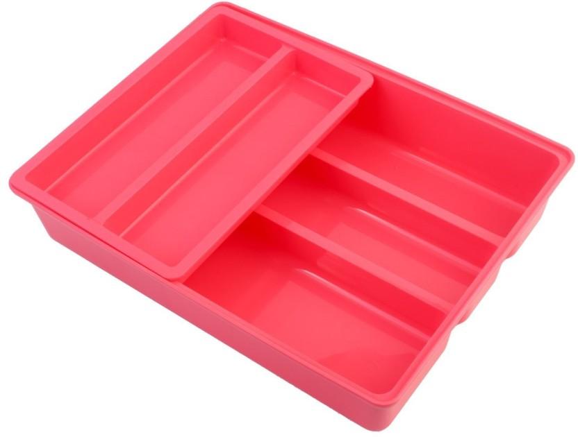 Uberlyfe 6 Compartments Plastic Plastic Desk and Cutlery Organizer