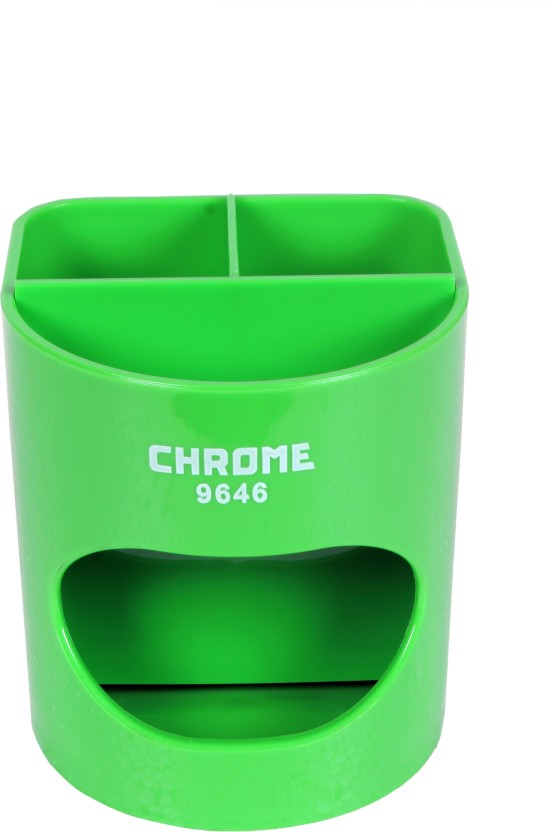 Chrome 4 Compartments Plastic Pen Stand