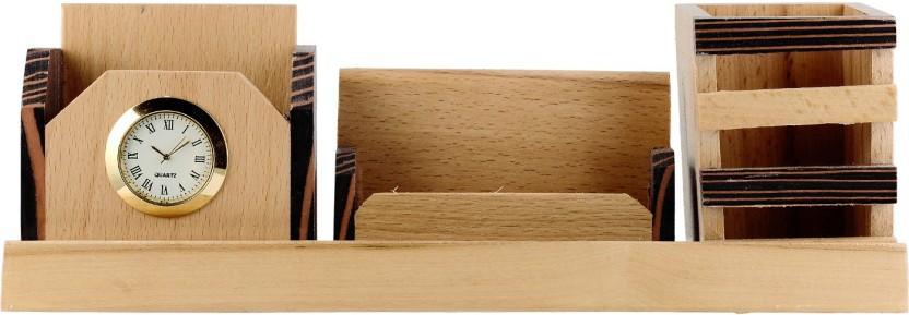 Etsi Bitsi 2 Holders 3 Compartments Wooden Card & Mobile Holder