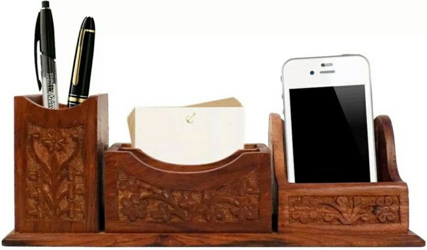 MartCrown 3 Compartments wooden Wooden Mobile Phone Holder