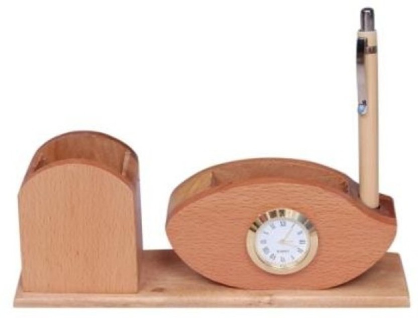 Onlineshoppee CAC 3 Compartments Wooden Stationery Holder