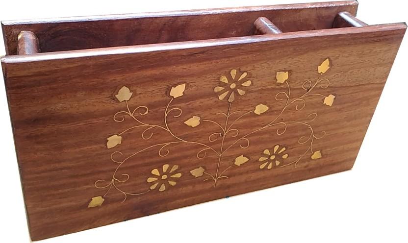 Woodsmith 2 Compartments Sheesham Wood, Brass Pen Holder