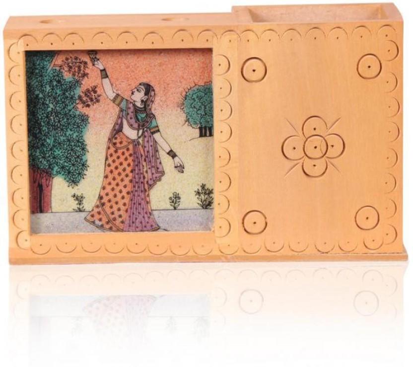 Rajwada Arts Rajasthani 1 Compartments Wooden Office Stationary Holder