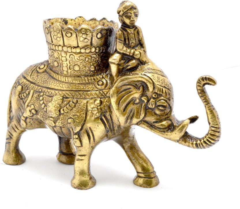 Handecor 1 Compartments Brass Elephant Savari Pen Stand