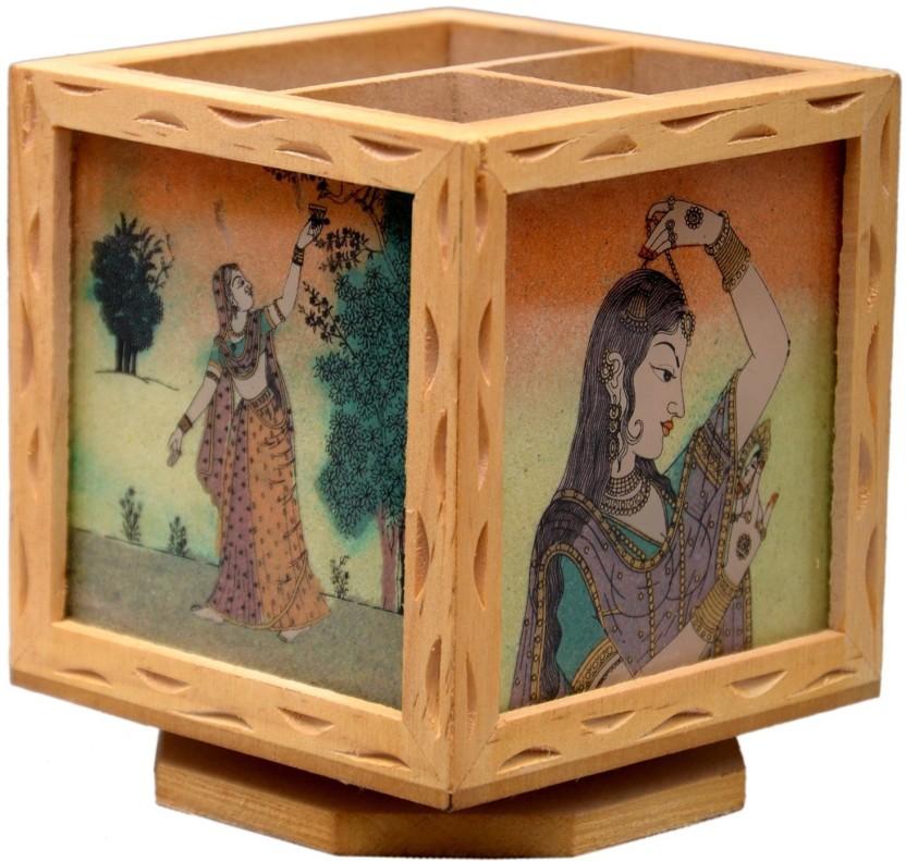 HanumantCreations 3 Compartments wooden, Gemstone PEN Holder