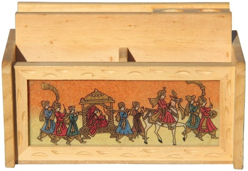 Handicrafts Paradise GSWW 3 Compartments Wooden Penholder With Card Holder And Mobile Holder