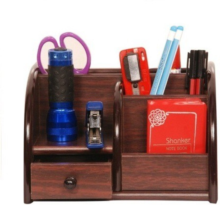 Phoenix Giftmrt 6 Compartments Wooden Pen Stand