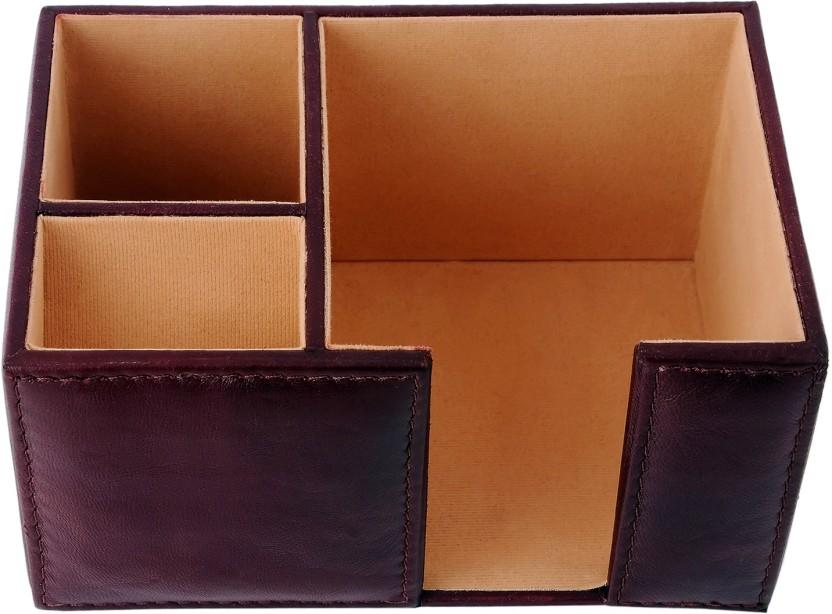 ZINT 3 Compartments Genuine Leather Desk organizer