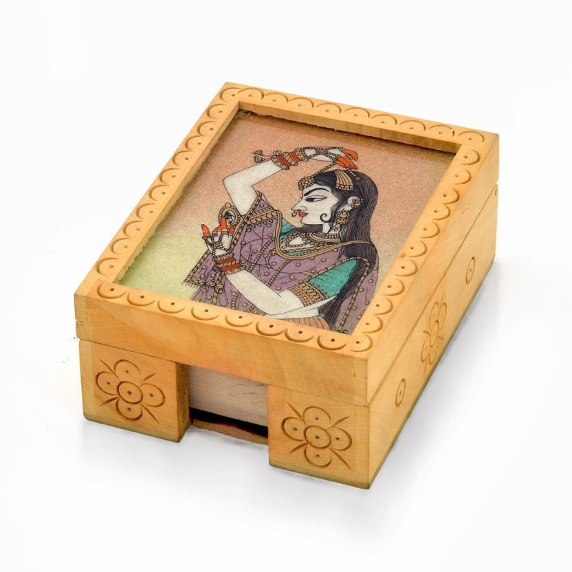 Little India HCF361 1 Compartments Wood Visiting Card Box