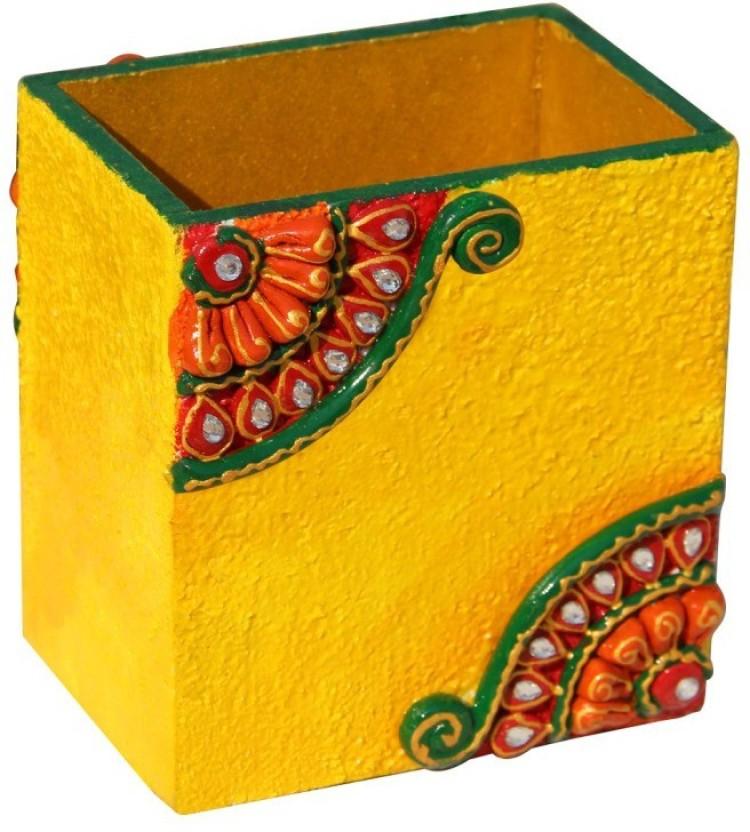 Handicrafts Paradise 1 Compartments Wood Pen holder