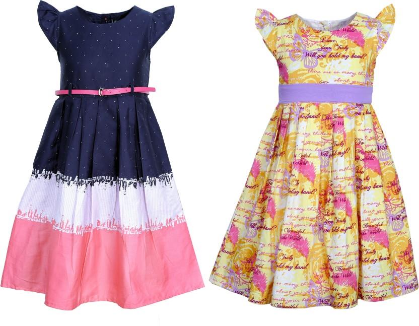 Bella Moda Girls Gathered Multicolor Dress