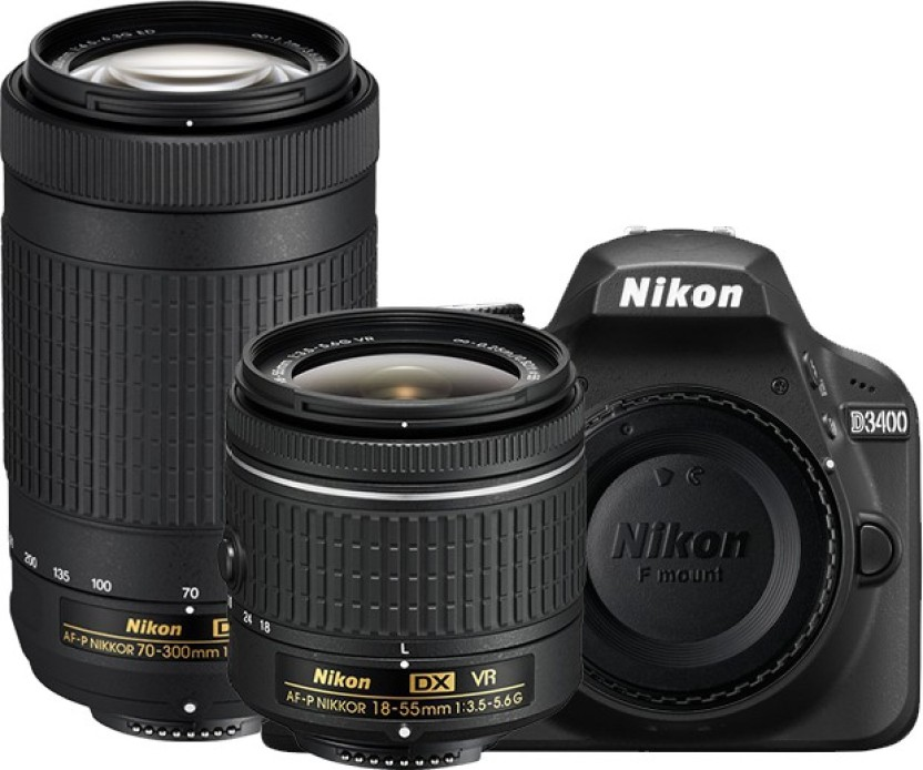 Nikon D3400 DSLR Camera Body with Dual Lens: AF-P DX NIKKOR 18-55 mm f/3.5 - 5.6G VR + AF-P DX NIKKOR 70-300 mm f/4.5 - 6.3G ED VR (16 GB SD Card + Camera Bag)